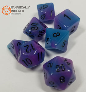 Blue Purple Double Radiant Glow In The Dark 7pc Dice Set