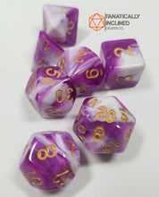 Laden Sie das Bild in den Galerie-Viewer, Purple Grapes and Cream w/Gold 7pc Dice Set
