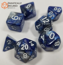 Load image into Gallery viewer, Blue and Grey Iron Ore 7pc Dice Set
