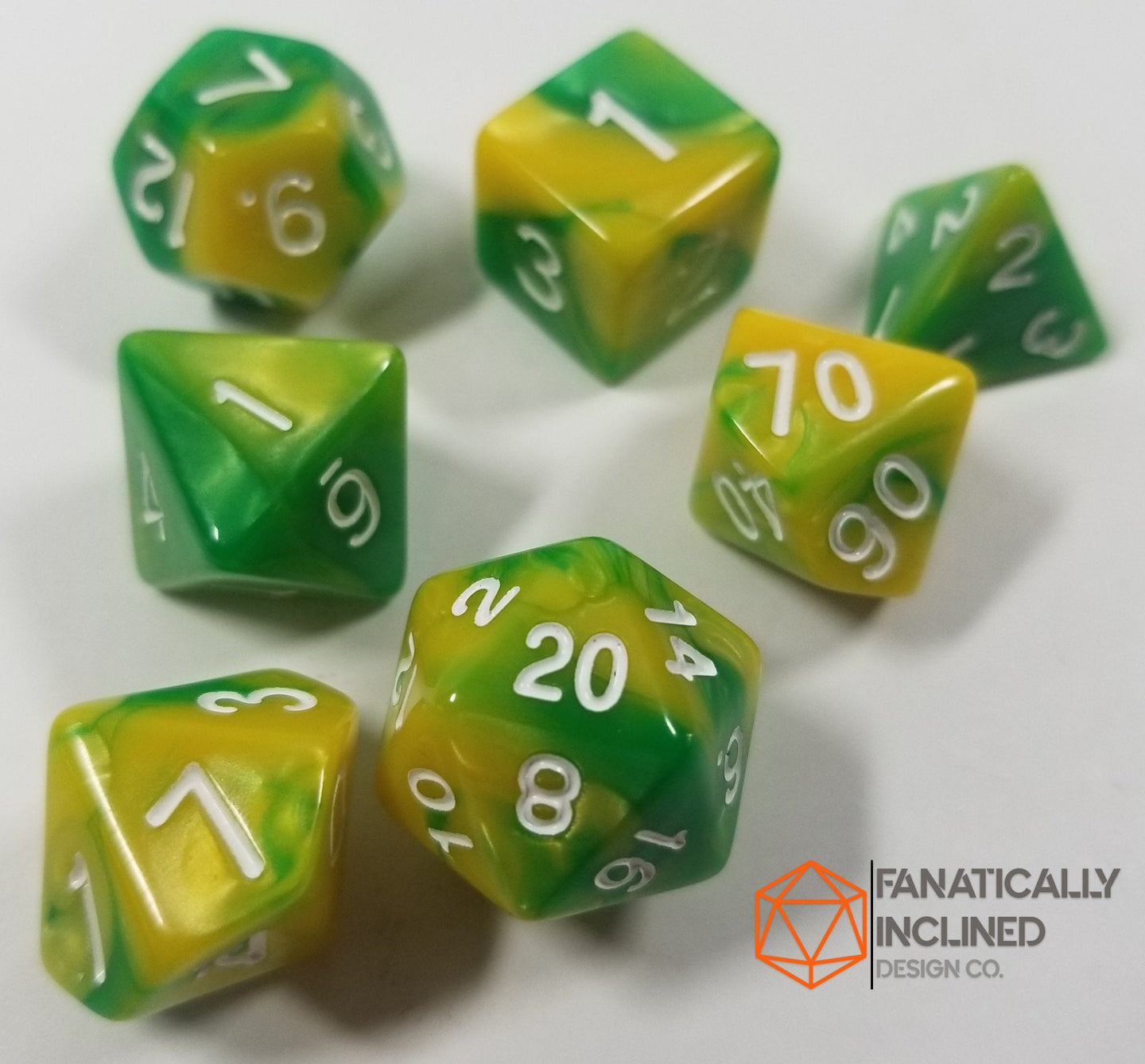 Yellow and Green w/White 7pc Dice Set