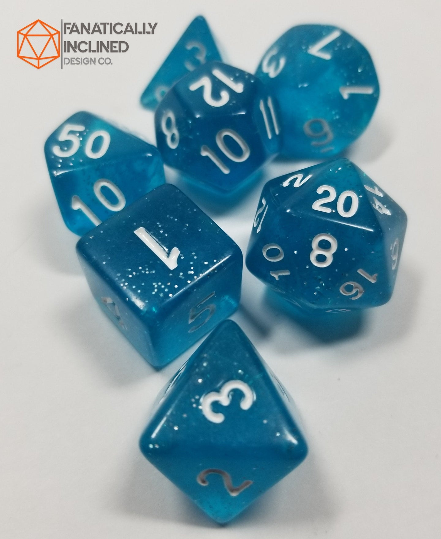 Light Blue Glittery 7pc Dice Set