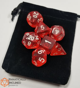 Scarlet Red Prismatic Orb 7pc Dice Set