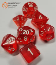Load image into Gallery viewer, Scarlet Red Prismatic Orb 7pc Dice Set