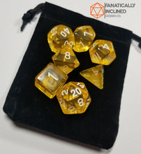 Load image into Gallery viewer, Lemon Yellow Prismatic Orb 7pc Dice Set
