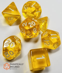 Lemon Yellow Prismatic Orb 7pc Dice Set
