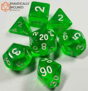 Lime Green Prismatic Orb 7pc Dice Set