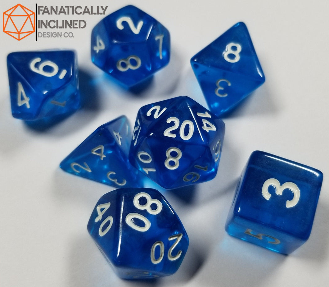 Cobalt Blue Prismatic Orb 7pc Dice Set