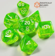 Load image into Gallery viewer, Slyme Green Prismatic Orb 7pc Dice Set