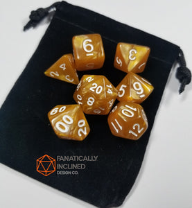 Caramel Brown Pearlescent 7pc Dice Set