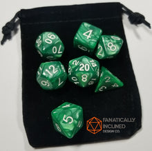 Load image into Gallery viewer, Emerald Green Pearlescent 7pc Dice Set
