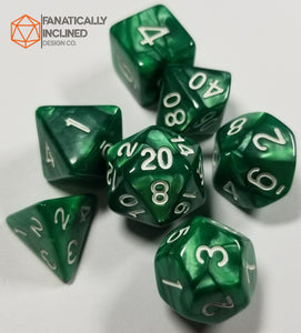 Emerald Green Pearlescent 7pc Dice Set