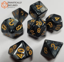Load image into Gallery viewer, Grey Charcoal Pearlescent 7pc Dice Set