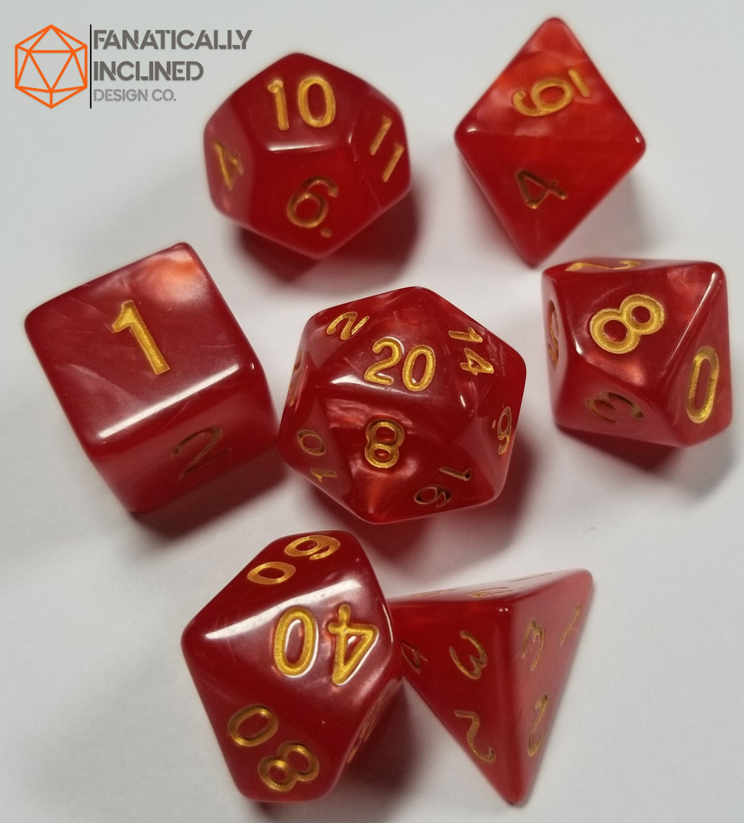 Red Pearlescent 7pc Dice Set