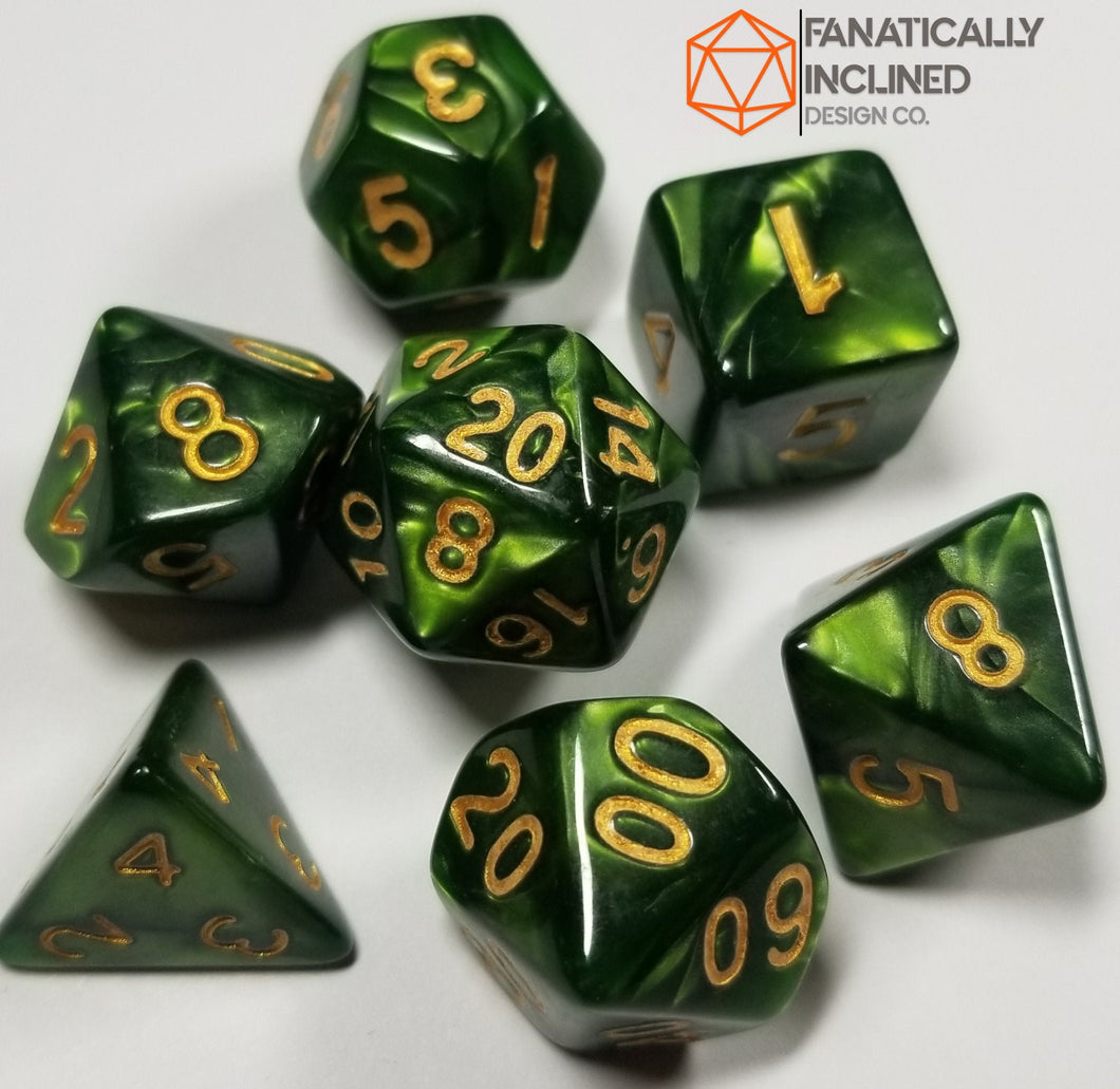 Olive Green Pearlescent 7pc Dice Set