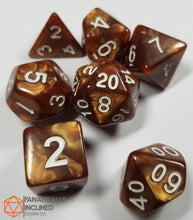 Load image into Gallery viewer, Bronze Brown Pearlescent 7pc Dice Set