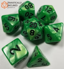 Load image into Gallery viewer, Jade Green Pearlescent 7pc Dice Set