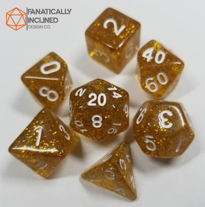 Champagne Gold Glitter 7pc Dice Set
