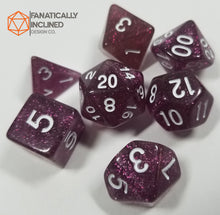 Load image into Gallery viewer, Grape Purple Glitter 7pc Dice Set