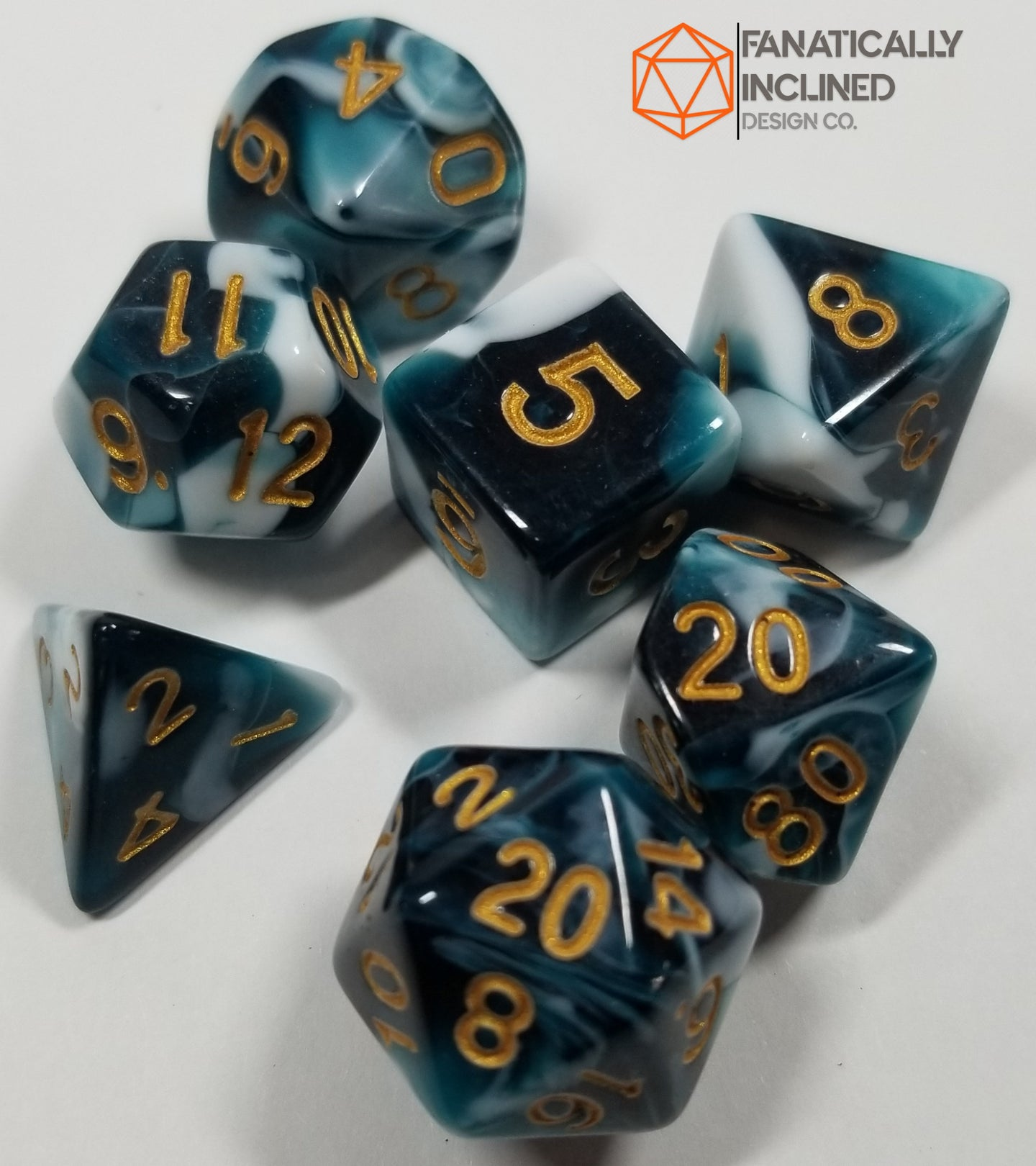 Blue Berries and Cream w/Gold 7pc Dice Set