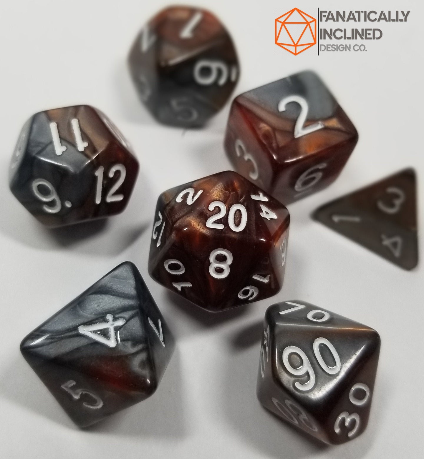 Copper and Grey Pearl 7pc Dice Set