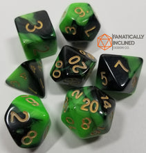 Load image into Gallery viewer, Green and Black Pearl 7pc Dice Set