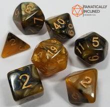 Load image into Gallery viewer, Gold and Black Pearl 7pc Dice Set