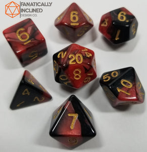 Dark Pink Red and Black w/Gold 7pc Dice Set