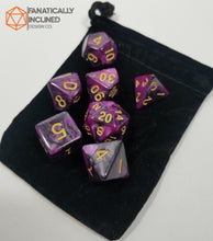 Load image into Gallery viewer, Purple and Black Pearl 7pc Dice Set