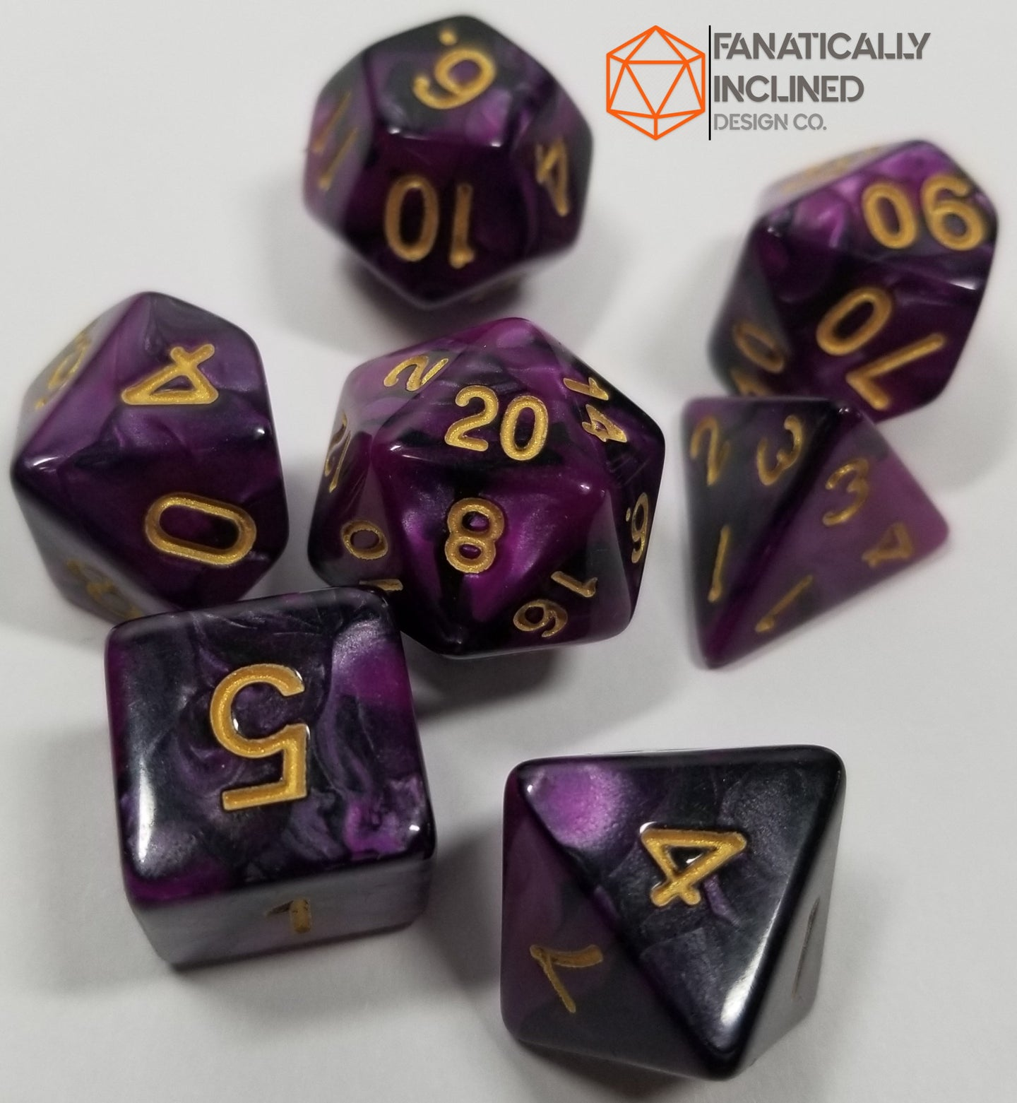 Purple and Black Pearl 7pc Dice Set