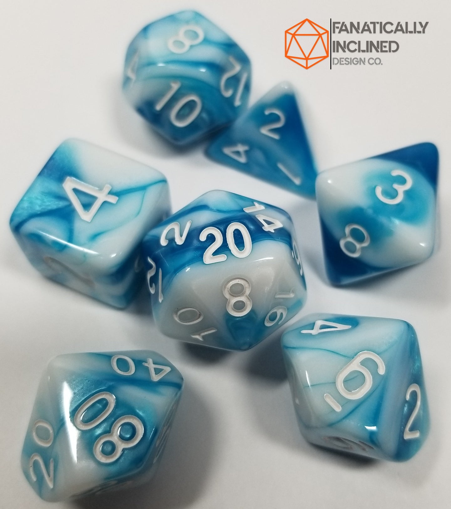 Ice Storm Blue White Pearl 7pc Dice Set