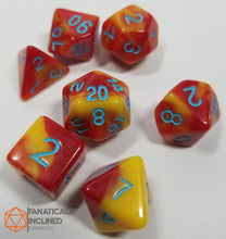 Load image into Gallery viewer, Red Yellow Blue Pearl 7pc Dice Set