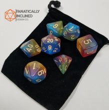 Load image into Gallery viewer, Red Blue Yellow Nebula Dice Set