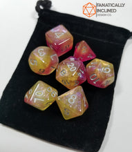 Load image into Gallery viewer, Pink Yellow Silver Nebula 7pc Dice Set