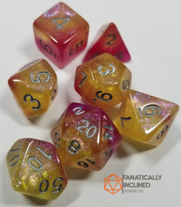 Pink Yellow Silver Nebula 7pc Dice Set