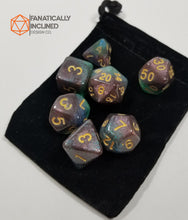 Load image into Gallery viewer, Teal Purple Blue Nebula 7pc Dice Set