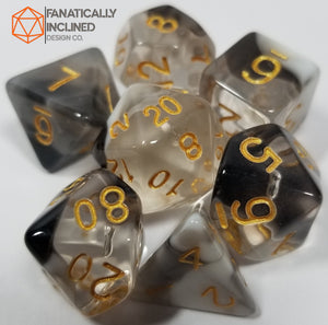 Black White Unholy Light 7pc Resin Dice Set