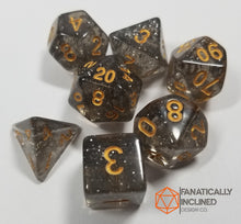 Load image into Gallery viewer, Smoke and Gold Glitter 7pc Dice Set