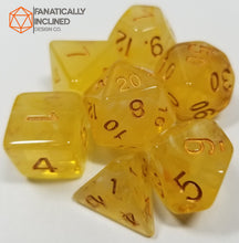 Load image into Gallery viewer, Yellow Gelatinous Cube 7pc Dice Set