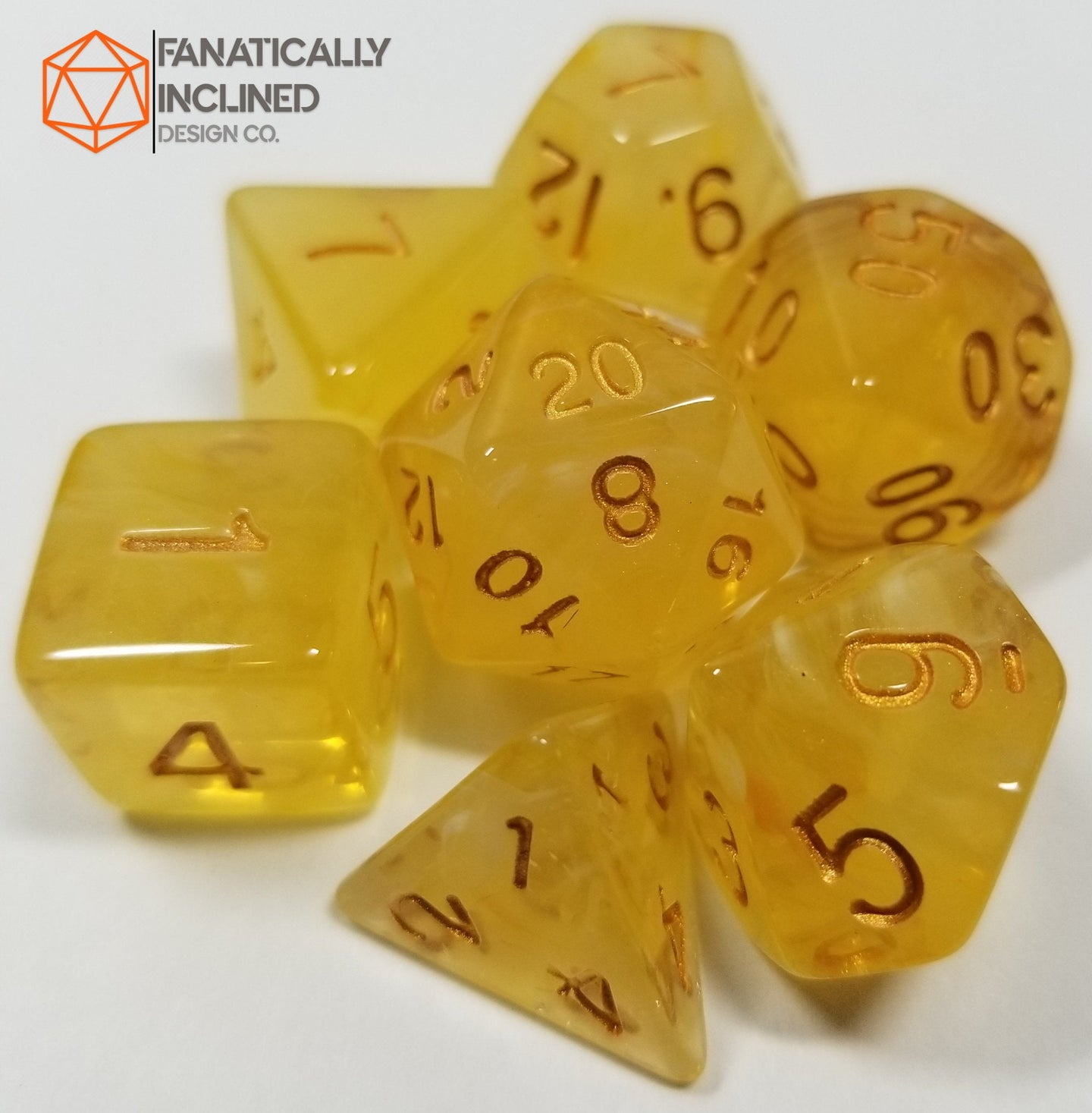 Yellow Gelatinous Cube 7pc Dice Set