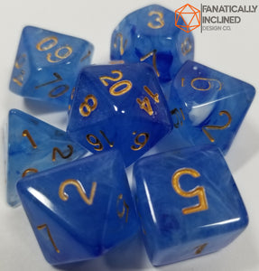 Blue Gelatinous Cube 7pc Dice Set