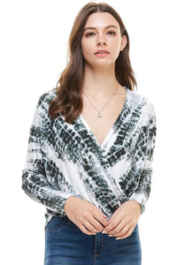 Tie Dye Front Twisted Hem Dolman Sleeve Top From United States