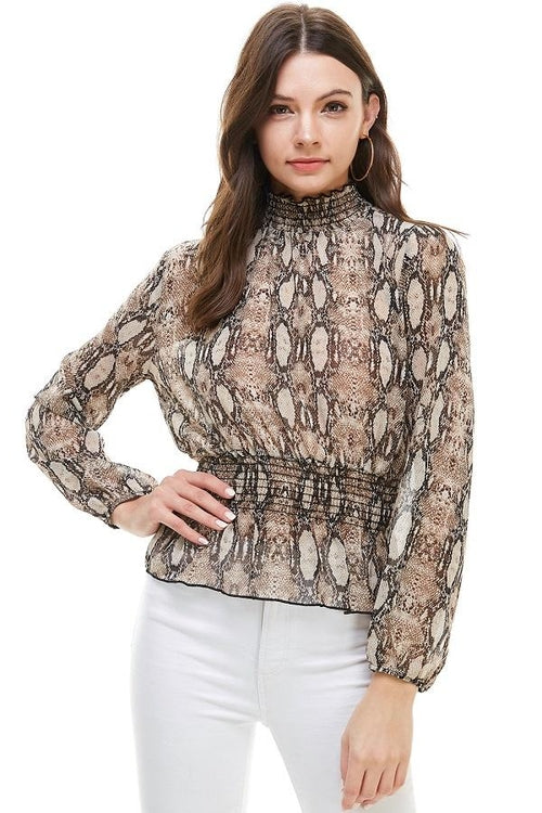 Snake Print Smocked Neck, Waist Long Sleeve Blouse From United States