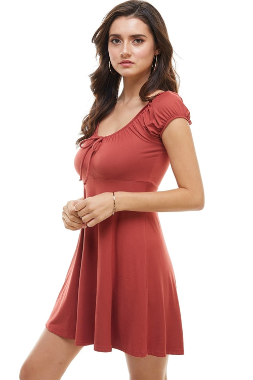 Solid Peasant Short Dress From United States
