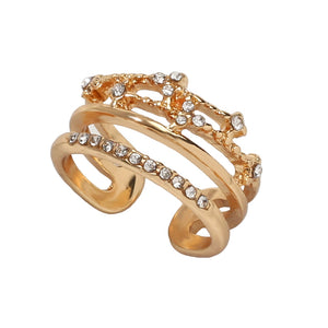 Fashion Gold Multi-layer Flash Diamond Wide Ring 1PC