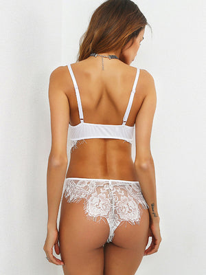Scallop Trim Eyelash Lace Lingerie Set From United States