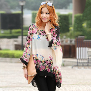 Women Boho Style Loose Chiffon Dolman Batwing Sleeve Floral Oversize Blouse Tops