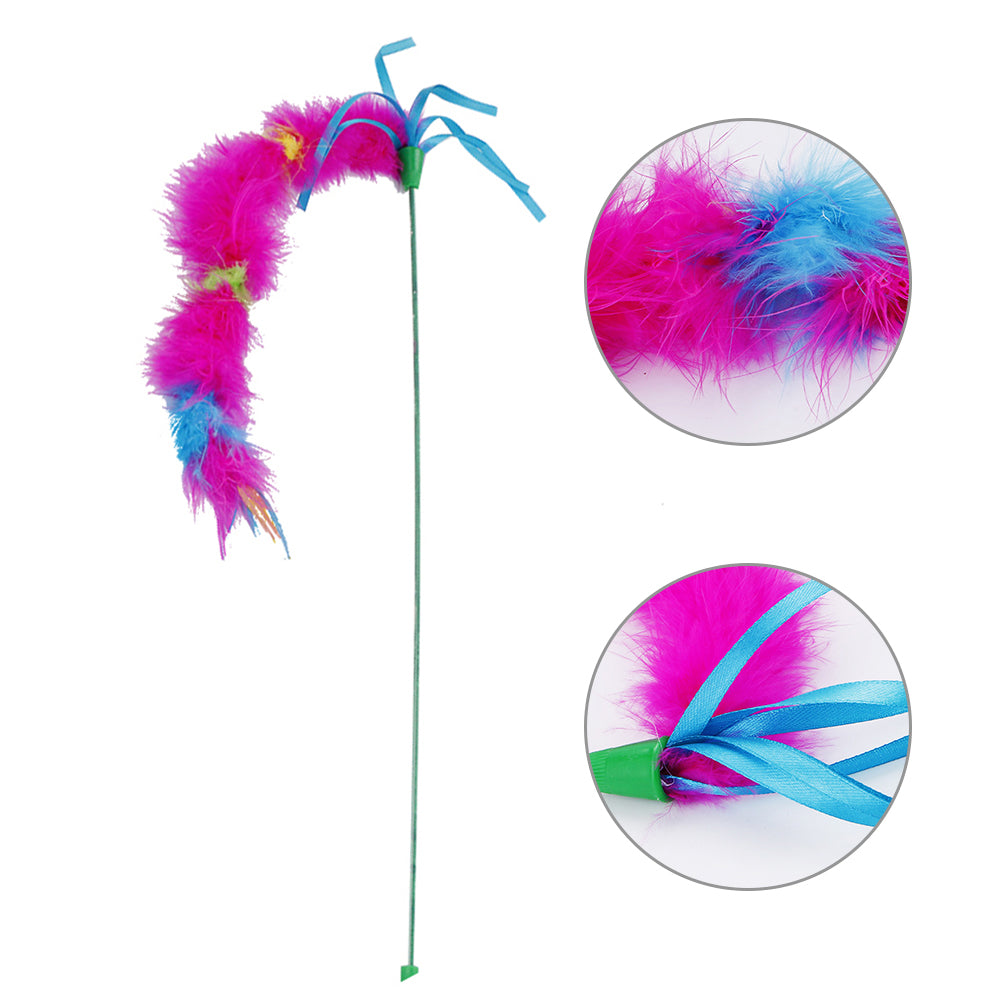 Funny Bright Color Feather Pet Cat Kitten Teaser Ribbon Elastic Wand Play Toy