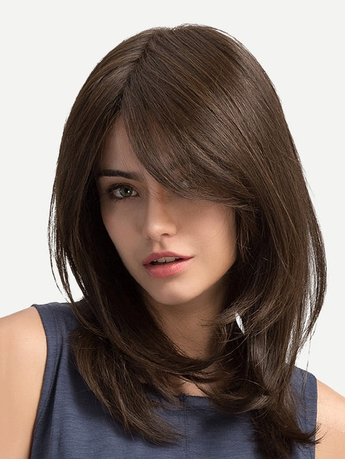 Natural Wig With Bangs 1pc From United States