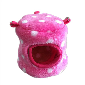 Pet Hamster Squirrel House Bed Small Warm Winter Velvet Polka Dot Cotton Nest