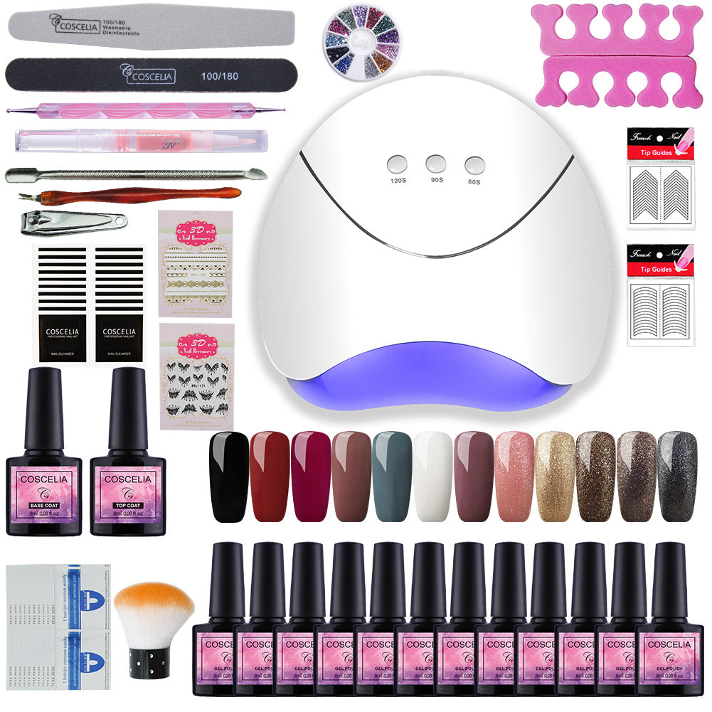 Nail Set With 36W LED Lamp For Gel Polish Kit 12 Pcs Nail Polish Manicure Nail Set